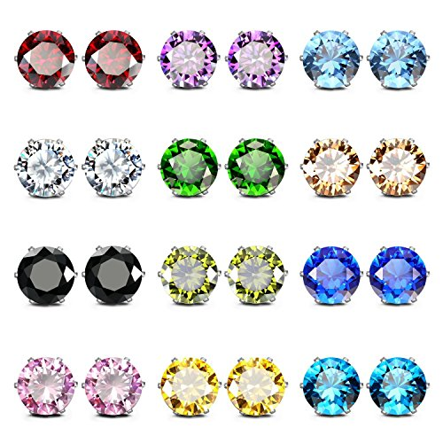 JewelrieShop Stainless Steel CZ Post Earrings Set Birthstone Studs for Women Piercing Hypoallergenic Multi Color Round Square Cuts Cubic Zirconia Sensitive Ears Earrings (12 Pairs,8mm,Round)