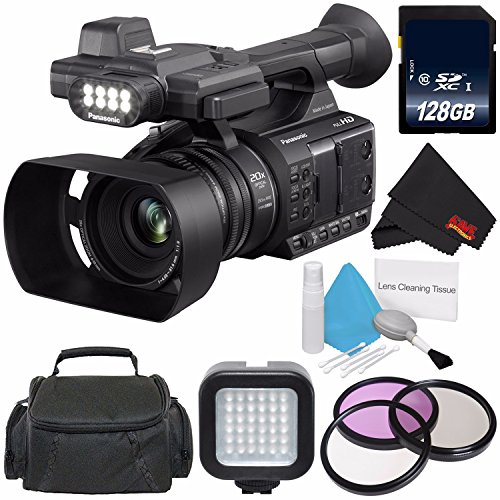 Panasonic AG-AC30 Full HD Camcorder with Touch Panel LCD Viewscreen AG-AC30PJ + 128GB SDXC Class 10 Memory Card + Carrying Case + Professional 160 LED Video Light Studio Series Bundle by 6Ave