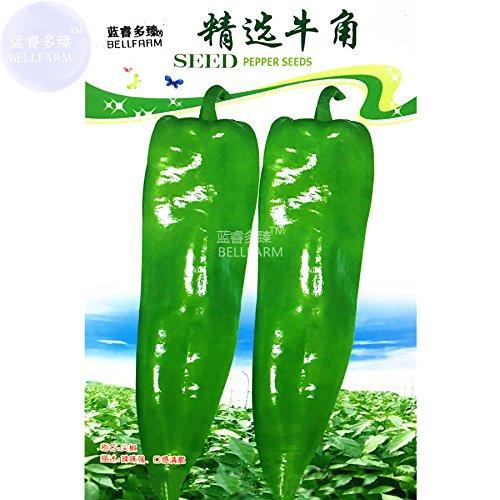 Poppy Flower Organic Horn - 2018 Hot Sale!! Maslin 'Cow-Horn' Large Long Cayenne Pepper Vegetable Seeds, 30 Seeds, Original Pack, hot Green Organic Pepper