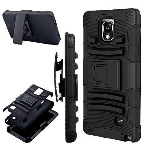 Zone Shop (TM) Samsung Galaxy Note 4 Titan Dual Layer Black Hard Shell Case Cover Holster Pack for Samsung Galaxy Note 4 with Kickstand and Locking Swivel Belt Clip for Galaxy Note 4 by Zone Shop