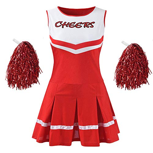 Makroyl Women's Musical Uniform Fancy Dress Complete Outfit High School Cheerleader Costume (Red, Large) ()