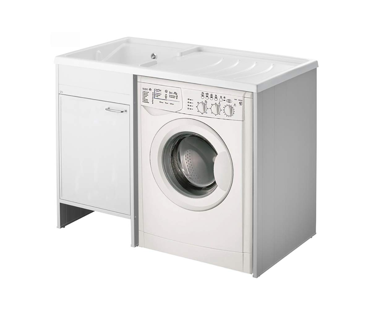 Mobile coprilavatrice con lavatoio lavapanni cm.109x60, vasca a sinistra, 1 anta Arredobagnoecucine