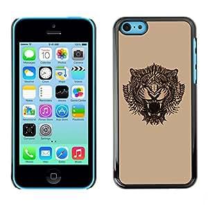 SoulCase / Apple Iphone 5C / Vintage Tribal Tattoo Tiger / Delgado Negro Plástico caso cubierta Shell Armor Funda Case Cover