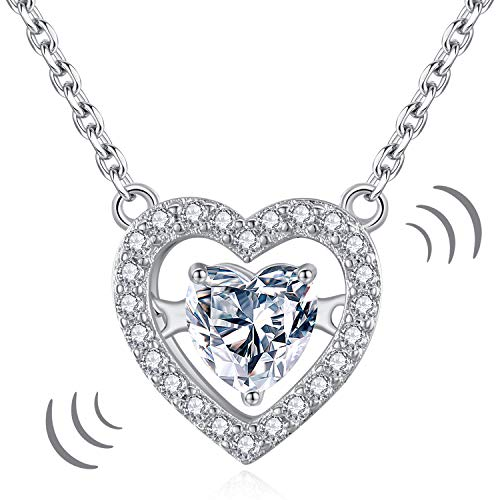 Twin Dancing - GoSparkling Dancing Heart Necklace Pendant - White Gold-Plated - Precious Love Necklace - Twin Heart Necklace Jewelry Allergy Free - 5A Cubic Zirconia Embedded Stones - Premium Gift for Women
