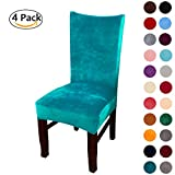 #8: Colorxy Velvet Spandex Fabric Stretch Dining Room Chair Slipcovers Home Decor Set of 4, Peacock Green