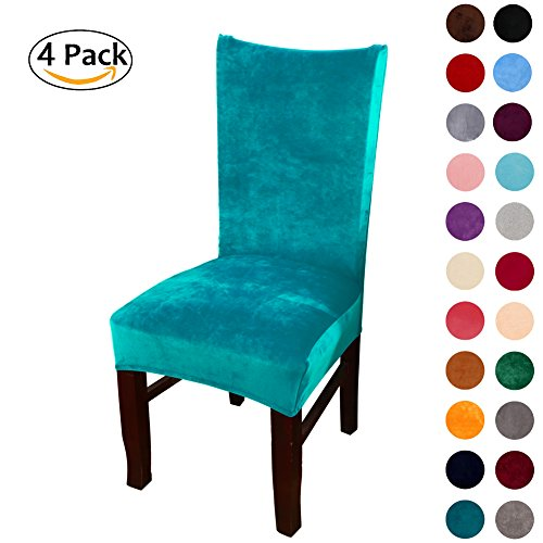 ex Fabric Stretch Dining Room Chair Slipcovers Home Decor Set of 4, Peacock Green (Green Home Decor Fabric)