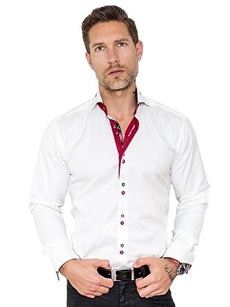 d17b8d678e36 Maceoo Mens Designer Dress Shirt- Stylish   Trendy White Mini Panam Red  Accent