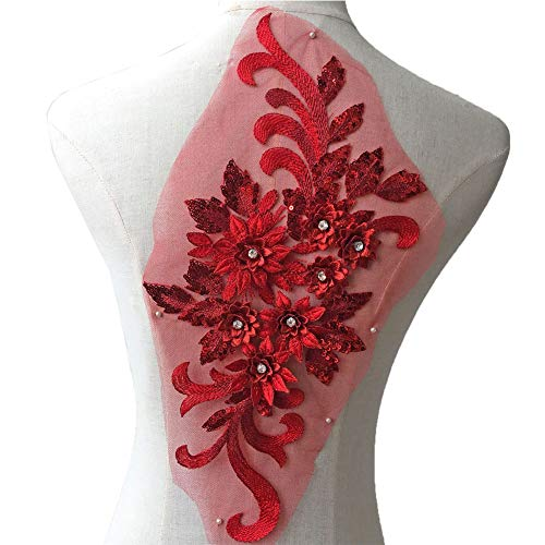 Exquisite 3D Flower Applique Beaded Sequined Crystal Floral Lace Patch Appliques Red Motif for Lyrical Dance Dress Craft Projects