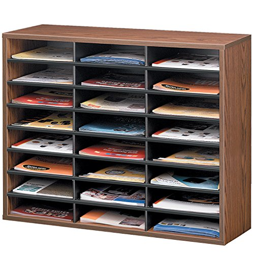 Fellowes 25043 Literature Organizer, 24 Letter Sections, 29 x 11 7/8 x 23 7/16, Medium Oak