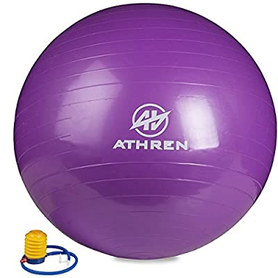 Exercise Ball with Foot Pump (Gym Quality) - 2000lbs Anti-burst - Also Known as: Fitness Ball - Yoga Ball - Swiss Ball - Multiple Colors and Sizes