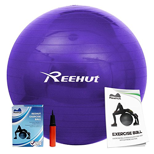Reehut Anti-Burst Core Exercise Ball for Yoga, Balance, Workout, Fitness w/ Pump (Purple, 65CM)