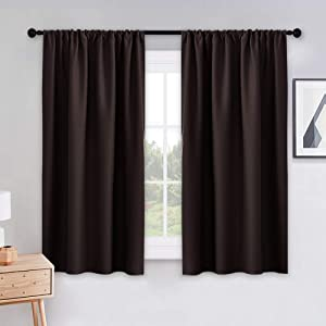 """PONY DANCE Bedroom Curtains Drapes - Blackout Panels Home Fashion Solid Rod Pocket Curtain Blinds Home Decor Thermal Insulated Light Block, Wide 42"""" x Long 54"""", Chocolate Brown, 1 Pair"""