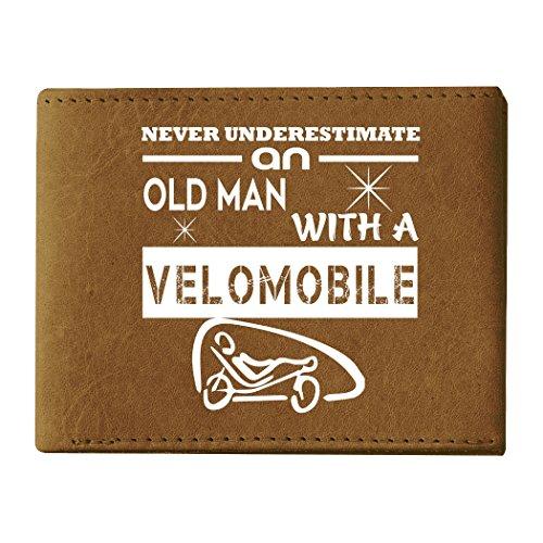 Wallets, Old Man With A Velomobile Wallets For Men (Men's Wallets - Texas Orange) (Compact Velo Safe)