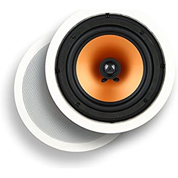 """Micca M-8C 8 Inch 2-Way In-Ceiling In-Wall Speaker with Pivoting 1"""" Silk Dome Tweeter (Each, White)"""
