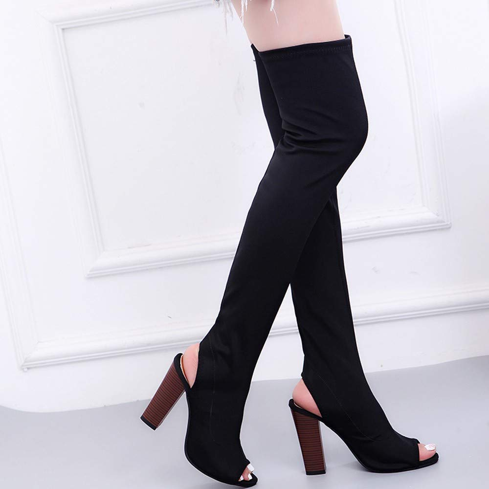 Niña Botinesotoño fashion fiesta,Sonnena ❤ Botas de mujer Stretch Faux Slim Botas de tacón alto Peep Toe Botas sobre la rodilla Zapatos de tacones altos ...