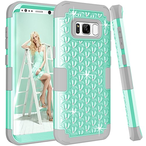 Galaxy S8 Plus Case, SOGOLA Hybrid Heavy Duty Shockproof Bling Sparkly Glitter Rhinestone Case with Dual Layer [Hard PC+ Soft Silicone] Impact Protection for Samsung Galaxy S8 Plus - (Mint + Gray) ()