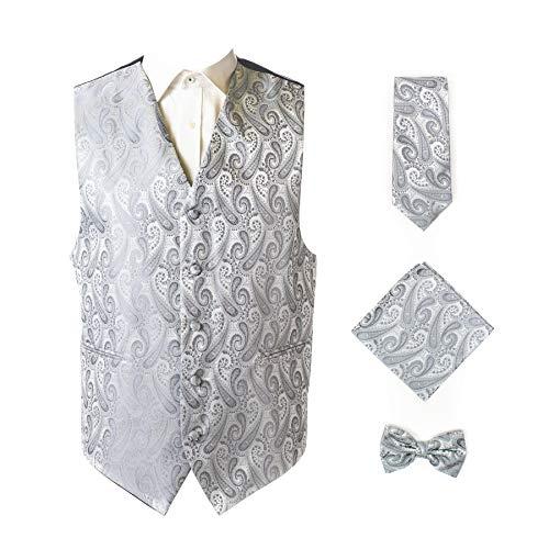 Hankie Paisley - Oliver George 4pc Paisley Vest Set-Silver-2XL
