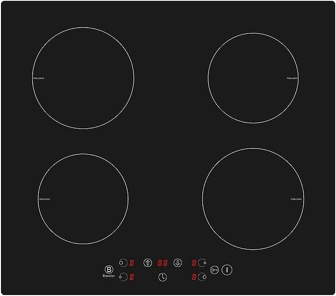 Placa de inducción de 4 zonas, placa de cocina eléctrica integrada de 60 cm, 4 quemadores, cocina eléctrica portátil con control táctil, temporizador y vidrio satinado negro (6300 W): Amazon.es: Grandes electrodomésticos