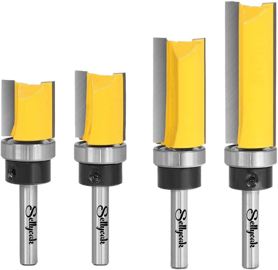 with 0.4/&0.8/&1/&1.5 Blade Length 1//4 Inch Shank Pattern Flush Trim Router Bit Set /½ Blade Dia SellyOak Flush Trim Router Bits 4 Sizes Top Bearing Template Router Bit Wood Milling Cutter