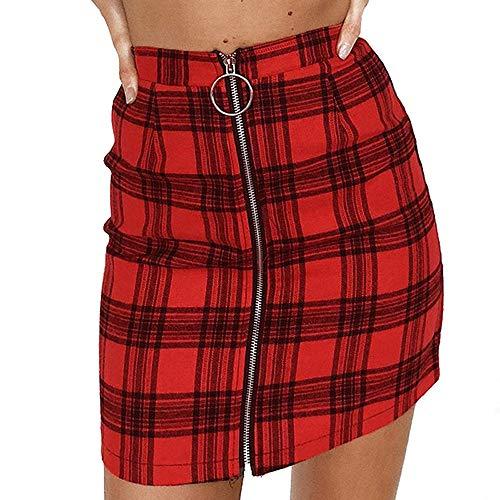 (Beautyfine Womens Sexy Plaid Hip Skirt Zipper Striped Wooden Ear Slim Hip Short Mini Party Dress Red)