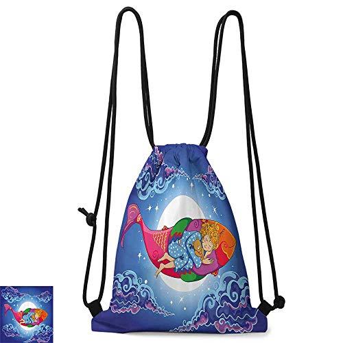 traveling backpack Kids Fish Cute Sleeping Baby Floating on Cartoon Fish in Sky Big Moon Stars Clouds Dreamy W14