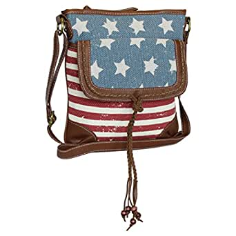 Amazon Com Vintage Usa American Flag Crossbody Bag Purse