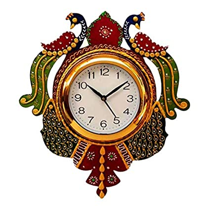 John Varvatos Wooden Hand Painted Peacock Design Wall Clock for Home and Decor (Multicolour)