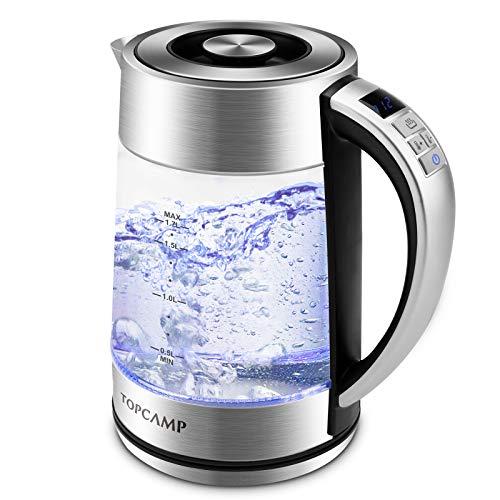 Adjusts Water - Glass Electric Kettle Water Heater Temperature Control with Stainless Steel Lid, 1.7L Fast Boiling Water Kettle With Led Display - Keep Warm/ Quick Biol/ BPA-Free ( Boil-Dry Protection / Auto Shut-off) by TopCamp