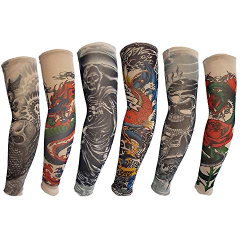 6PCS Art Fake Tattoo Sleeve Temporary Arm Tattoo Motorcycle Sleeve Sun Protection Flexible Real Looking Non-slip Tight and Fit for Men and Women
