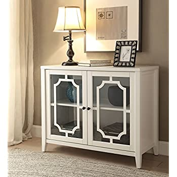 ComfortScape Two Door Wooden Console Table For Entryway With Shelves, White