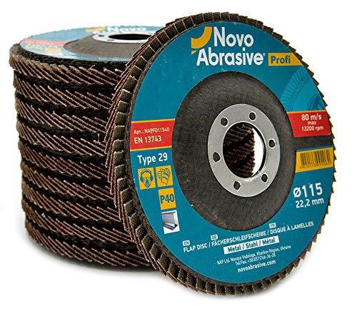 10 PCS Flap Grinding Disc 4.5 x 7/8 Inch 40 Grit Type 29 Aluminum Oxide Sanding Flapper Wheel by NOVOABRASIVE ()