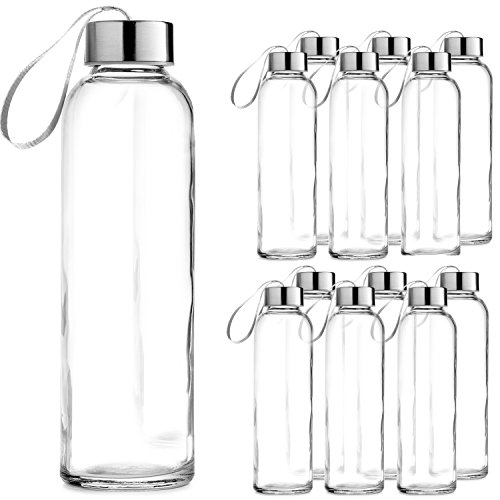 Chef's Star Glass Water Bottle 12 Pack 18oz Bottles beverages Juicer Use Stainless Steel leak proof Caps Carrying Loop - Including 12 Black Nylon Protection Sleeve (Bottle Chefs)