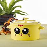 Panbado 15 OZ Porcelain Cute Cartoon Animal Rice Bowl Novelty Ceramic Lovely Serving Soup Bowl with Lid - Yellow Cat