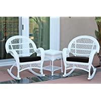 Jeco W00209_2-RCES017 3 Piece Santa Maria Rocker Wicker Chair Set with Black Cushions, White