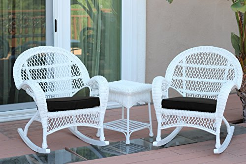 Jeco W00209_2-RCES017 3 Piece Santa Maria Rocker Wicker Chair Set with Black Cushions, ()