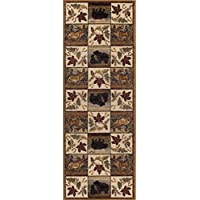 Portrait Wildlife Novelty Lodge Pattern Beige Runner Rug, 2.7 x 7