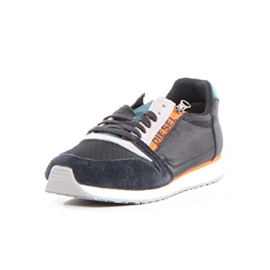 Diesel Mens Black Jake Slocker S Anthracite and Paloma Leather Sneakers   8 UKIndia