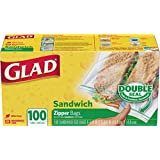 Glad Food Storage Bags, Sandwich Zipper, 100 Count