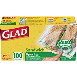 Glad Zipper Food Storage Sandwich Bags - 100 Count - 12 Pack