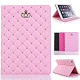 New iPad 2017 9.7 Case for Girls , Awsaccy(TM) Luxury Kawaii Crown Design Leather Smart Crystal Bling Diamond Folio Case Cover with Kickstand Auto Sleep Wake Function for New iPad 9.7-inch, Pink
