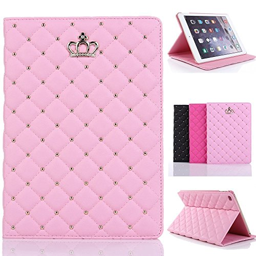 New iPad 2017 9.7 Case for Girls , Awsaccy(TM) Luxury Kawaii Crown Design Leather Smart Crystal Bling Diamond Folio Case Cover with Kickstand Auto Sleep Wake Function for New iPad - For Girls Cases Ipad