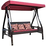 Sundale Outdoor Deluxe Wicker Porch Swing Canopy Sling Chair 3 Seats with Steel Frame Patio Backyard Awning, Polka Dots