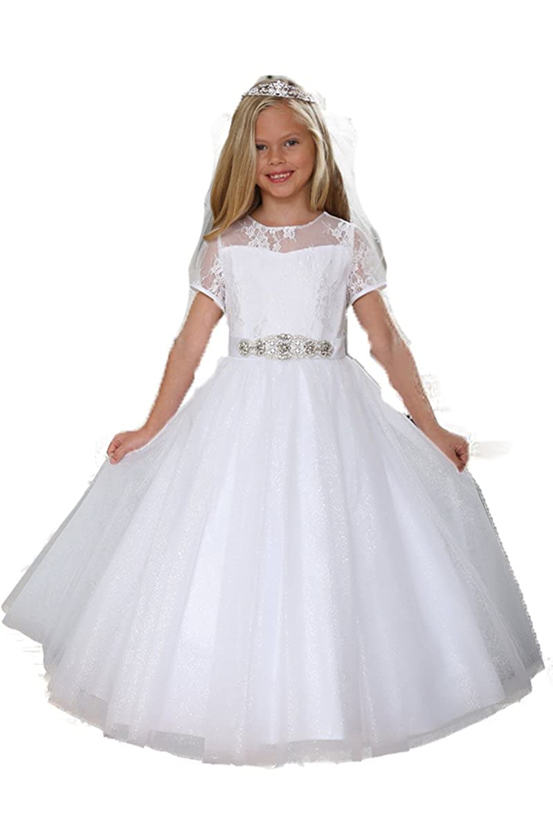 Angels Garments DR-5227 White Lace /& Sparkly Tulle Dress w//Jeweled Sash