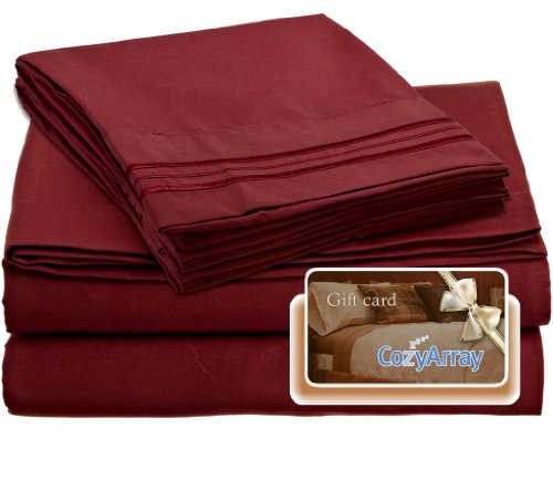 Clara Clark ® Premier 1800 Collection Bed Sheet Set, Includes a Free $5 Cozy Array Gift Card, Full (Double) Size, Burgundy Red (Product Mattress Premiere Set)