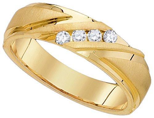 10k Yellow Gold Mens Round Diamond Channel-set Wedding Anniversary Band Ring 1/6 (Mens Diamond Anniversary Ring)