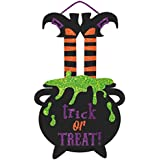 """Large Friendly Witch Hanging Sign Halloween Trick or Treat Party Decoration, 20"""" x 13""""."""