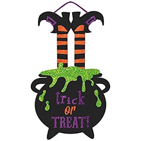 You can buy theLarge Friendly Witch Hanging Halloween Trick or Treat Sign  here