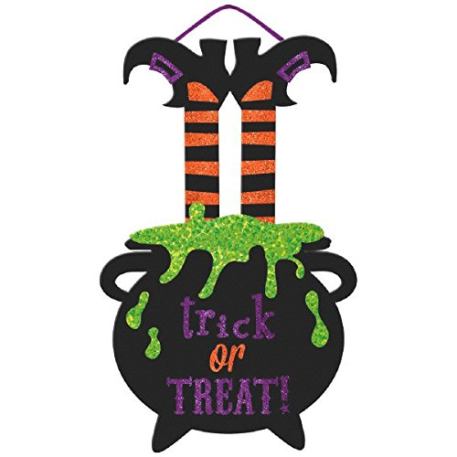 Amscan Large Friendly Witch Hanging Sign Halloween Trick or Treat Party Decoration, 20