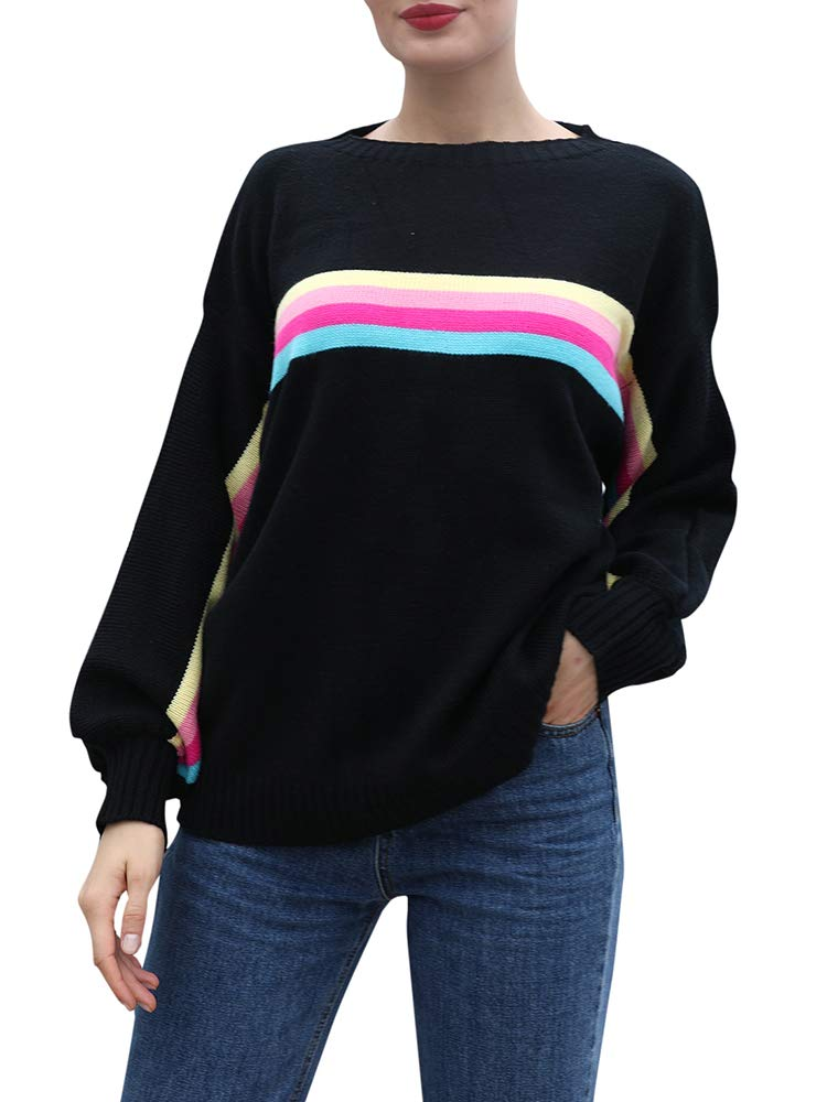 Leepus Women Colorful Stripes Print Sweater Ribbed Dropped Shoulders Long Sleeve Loose Casual Pullover Black by Leepus