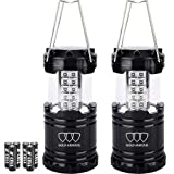 Gold Armour LED Lantern Camping Lantern - Camping Equipment Camping Gear Camping Lights for Hiking, Emergency, Hurricanes, Outages, Storms, Camping Lanterns (2Pack Black)